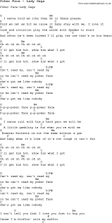 song poker face by lady gaga song lyric for vocal performance