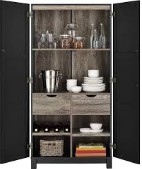 Oak Storage Cabinet Amazon Com Ameriwood Home Carver 64 Storage Cabinet Black