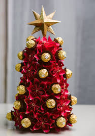 origami flower christmas tree ferrero rocher christmas tree