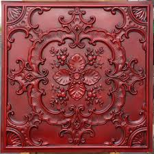 pl19 faux tin finishes artistic style antique red ceiling tiles 3d