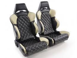 siege baquet voiture tuning shop siège baquet gauche droite similicuir noir beige