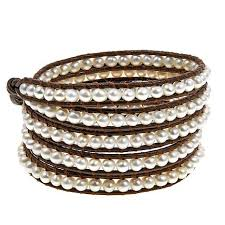 multi wrap bracelet images Chan luu cultured freshwater pearl brown leather multi wrap jpg