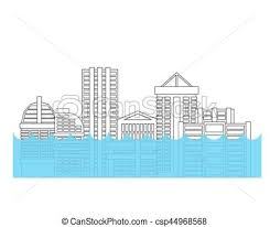 clip art vector of flooding in city flood in town house flooded