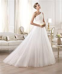 one shoulder wedding dress a line asymmetrical one shoulder draped tulle wedding dress with