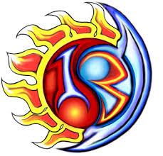 flaming sun and moon yin yang design