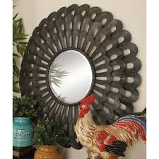 garden ridge wall mirrors 35 in scalloped frame round wall mirror 53312 the home depot
