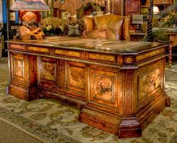 Excutive Desk This Beautiful Leather Inlaid Top And Burl Wood Gives Grandeur To