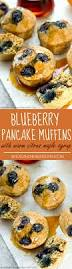 blueberry pancake muffins with warm citrus maple syrup whole and