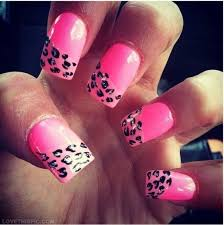 pink half leopard nails pictures photos and images for
