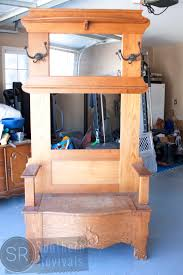 furniture wood hall tree bench with arm and mirror for bench ideas