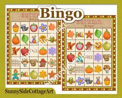 autumn fall bingo printable game party by sunnysidecottageart