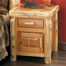 Rustic Pine Nightstand Log Night Stand Rapid River Rustic Inc Cedar Log Home Log Beds