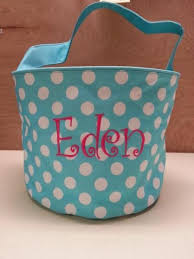custom easter baskets monogrammed easter basket embroidered name by leahbethdesigns on