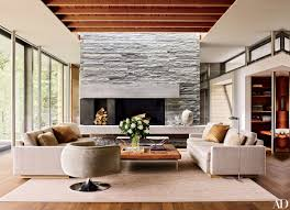 a quartzite chimney breast defines one end of the open plan living
