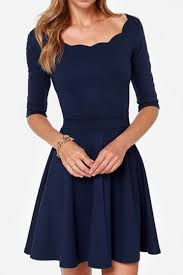 navy blue dress navy blue flare classic half sleeves skater dress pink