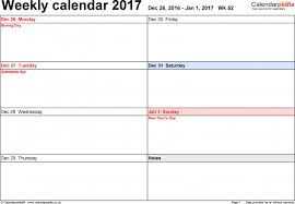 weekly calendar download 2017 and 2 saneme