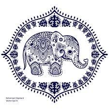vintage indian elephant with tribal ornaments mandala greeting