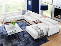 couch u form echt leder sofa weiss wohnlandschaft u form elsa mit