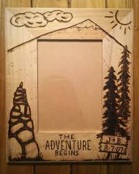 engraved anniversary gifts adventure begins tree picture frame wood burning heart