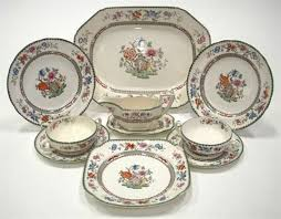 a chinese rose pattern part dinner service various sizes set of 43