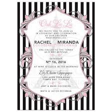 eiffel tower invitations eiffel tower mitzvah invitation pink black white chic stripes