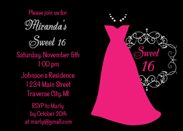 sweet 16 birthday invitation card with pink and black color
