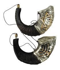 rams horn shofar sterling silver rams horn shofar temple menorah