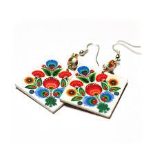 decoupage earrings rainbow floral folk cut out motif earrings decoupage square