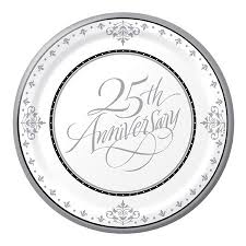 anniversary plates 25th silver wedding anniversary lunch plates 18 pack balloons co uk