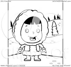 cartoon clipart of a black and white happy eskimo in the snow