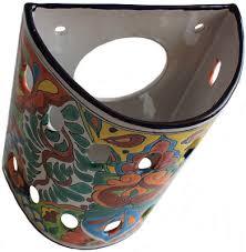 Mexican Wall Sconce Rainbow Talavera Ceramic Sconce