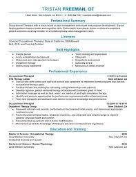 Respiratory Therapist Resume Templates Occupational Therapy Resume Template Professional Pediatric