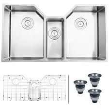Ruvati RVH Undermount  Gauge  Kitchen Sink Triple Bowl - Triple sink kitchen