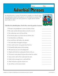 adverbial phrases worksheet 18 free adjective clauses worksheets