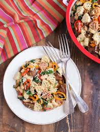 veggie sausage and sweet peppers with turkey shaped pasta a