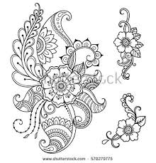 henna flower template mehndi style stock vector 570279775