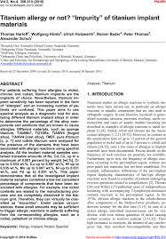 titanium allergy testing titanium allergy or not impurity of titanium implant materials