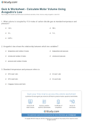 quiz u0026 worksheet calculate molar volume using avogadro u0027s law