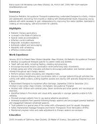 Sample Resume For Occupational Therapist by Stylish Inspiration Occupational Therapy Resume Examples 8