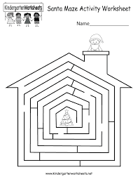 Free Printable Christmas Worksheets Free Printable Santa Maze Activity Worksheet For Kindergarten