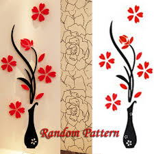 Home Decor Tree 3d Vase Removable Flower Tree Crystal Acrylic Wall Sticker Home