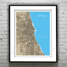 Chicago Map Art by Vintage Maps Aninspiredimage