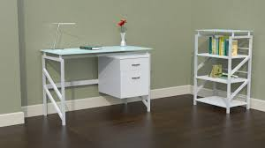 White Desk With Glass Top by Mayline 46 U2033 Wide Soho Glass Top Desk With Box File Pedestal New