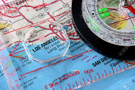Map Of Los Angeles Cities by Usa Map With The City Of Los Angeles And A Compass With Magnifying