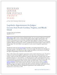 legislative appointments for judges lessons from south carolina