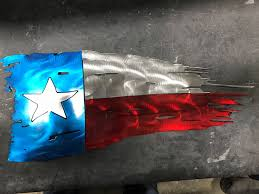 Texes Flag Tattered Texas Flag Flat Metal Sign