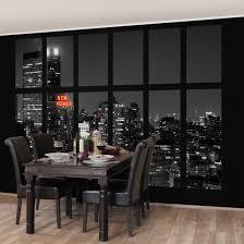 Esszimmer New York Vliestapete Fenster New York Nacht Skyline Fototapete Breit Tapete