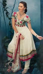 off white faux georgette designer casual wear salwar kameez