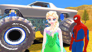 video de monster truck monster trucks spiderman y elsa de frozen la pelicula gameplay