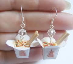 food earrings food jewelry take out earrings take away